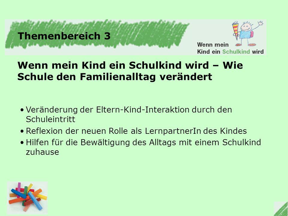 Themenbereich 3 Wenn mein Kind ein Schulkind wird – Wie Schule den Familienalltag verändert.