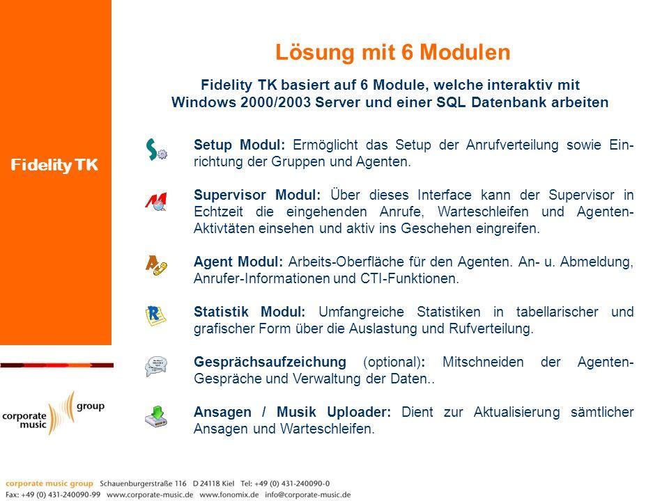 Lösung mit 6 Modulen Fidelity TK basiert auf 6 Module, welche interaktiv mit Windows 2000/2003 Server und einer SQL Datenbank arbeiten.