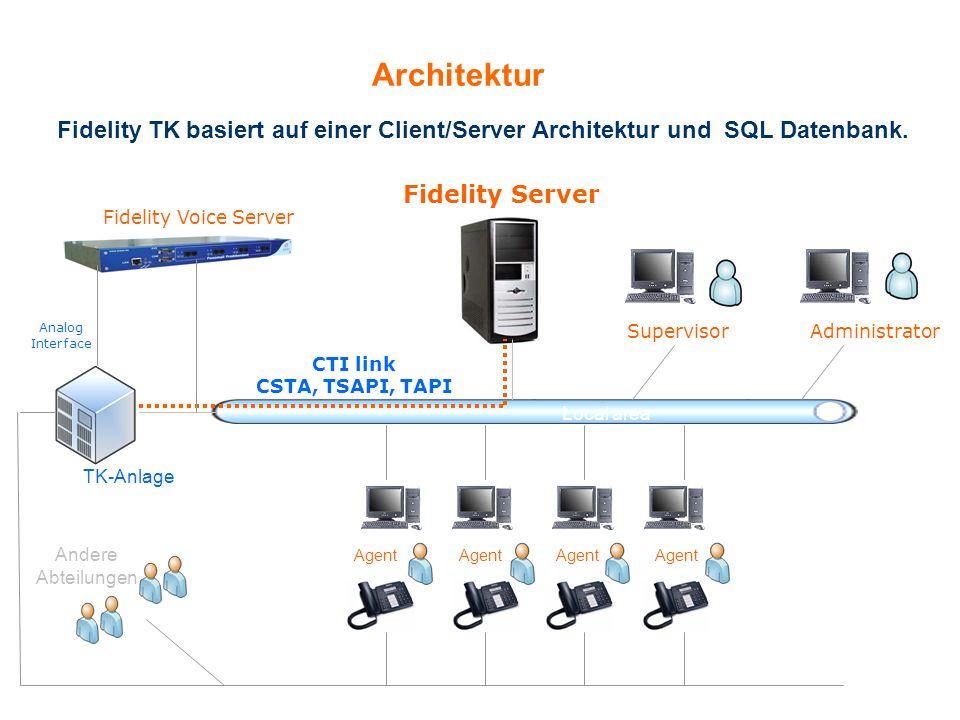 Architektur Fidelity TK basiert auf einer Client/Server Architektur und SQL Datenbank. Fidelity Server.