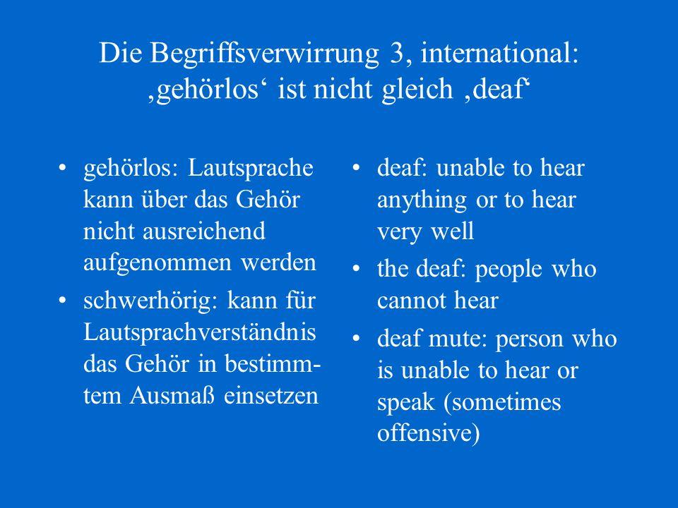 Die Begriffsverwirrung 3, international: 'gehörlos' ist nicht gleich 'deaf'