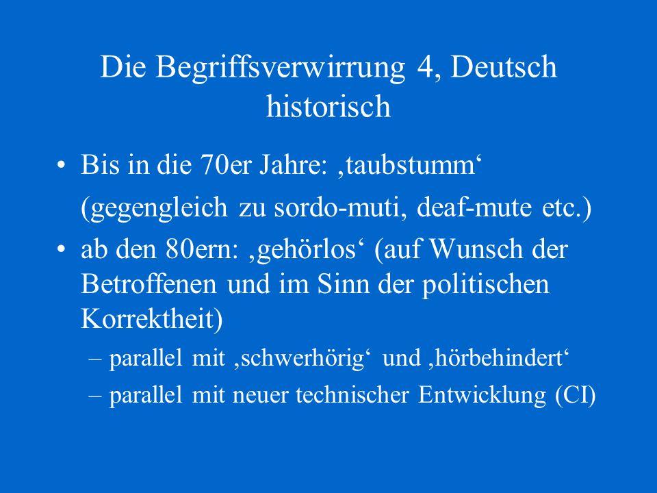 Die Begriffsverwirrung 4, Deutsch historisch