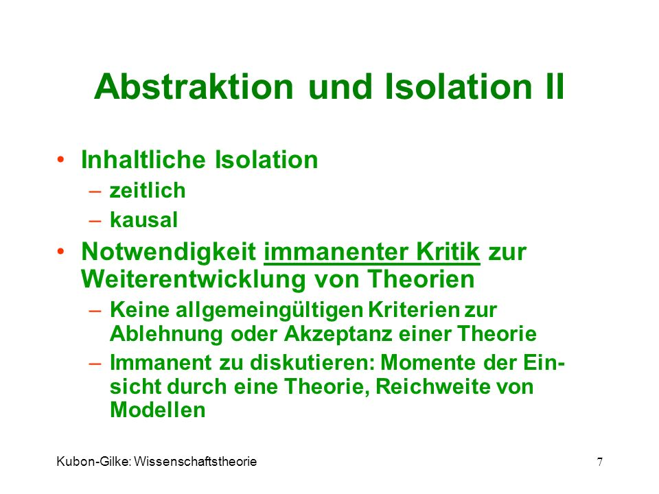Abstraktion und Isolation II