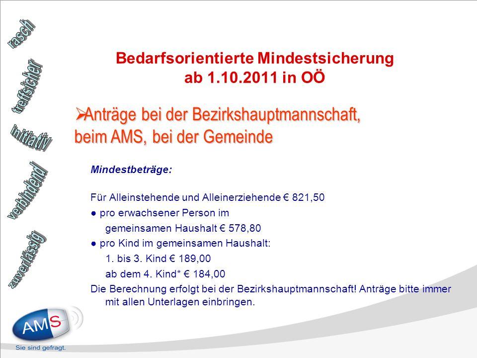 Bedarfsorientierte Mindestsicherung ab 1.10.2011 in OÖ