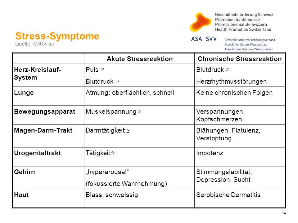 Stress-Symptome Quelle: KMU-vital