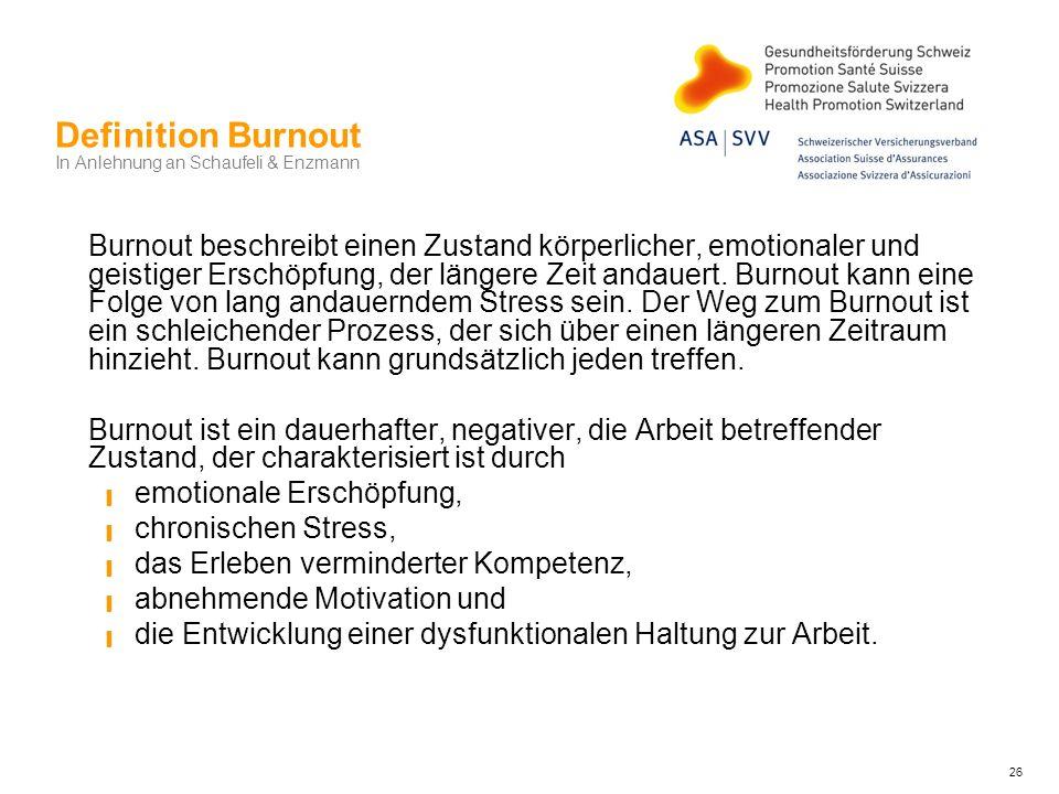 Definition Burnout In Anlehnung an Schaufeli & Enzmann