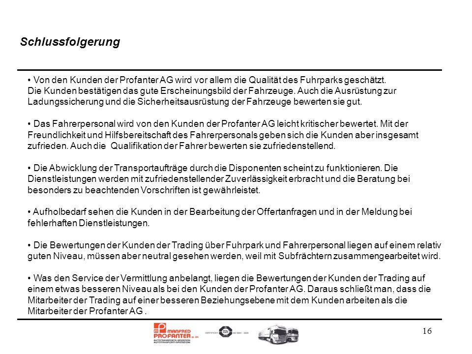 Schlussfolgerung Von den Kunden der Profanter AG wird vor allem die Qualität des Fuhrparks geschätzt.
