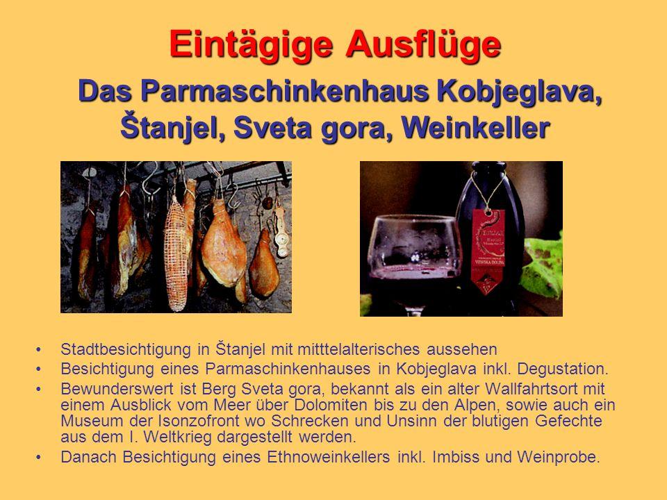Eintägige Ausflüge Das Parmaschinkenhaus Kobjeglava, Štanjel, Sveta gora, Weinkeller