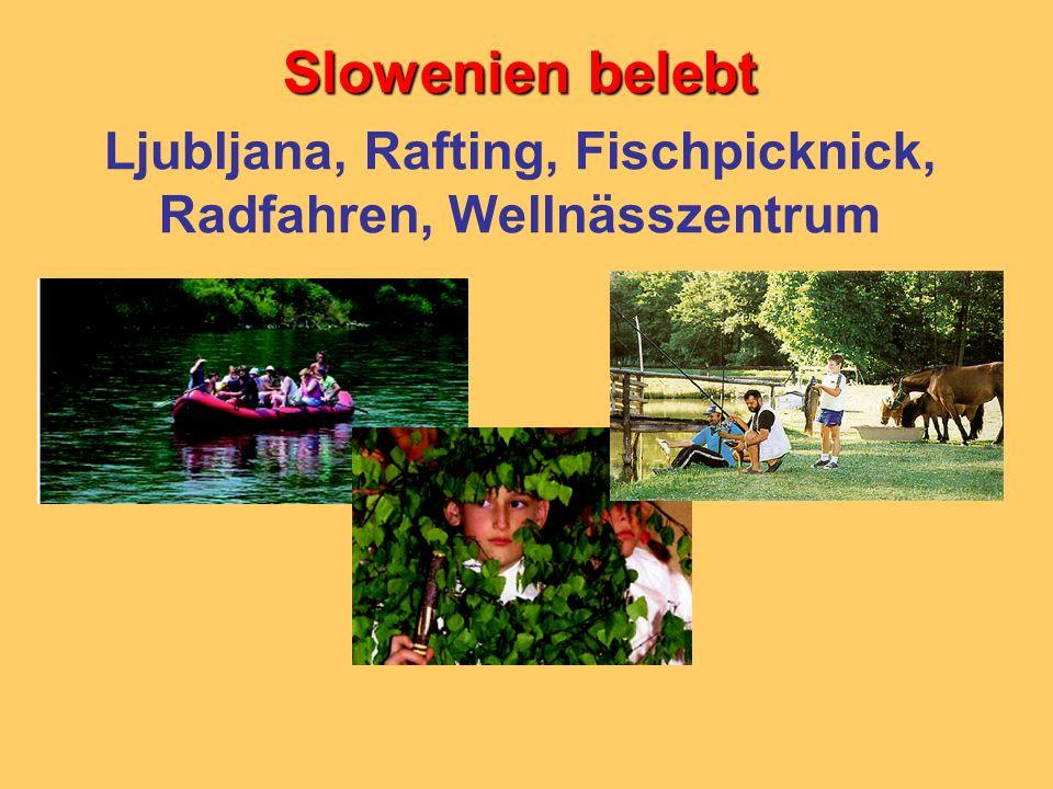 Ljubljana, Rafting, Fischpicknick, Radfahren, Wellnässzentrum