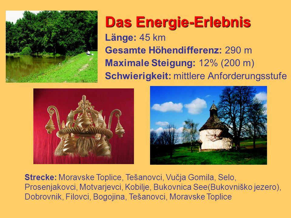 Das Energie-Erlebnis Länge: 45 km Gesamte Höhendifferenz: 290 m