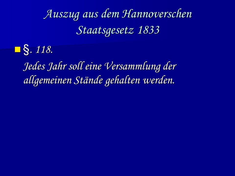 Auszug aus dem Hannoverschen Staatsgesetz 1833