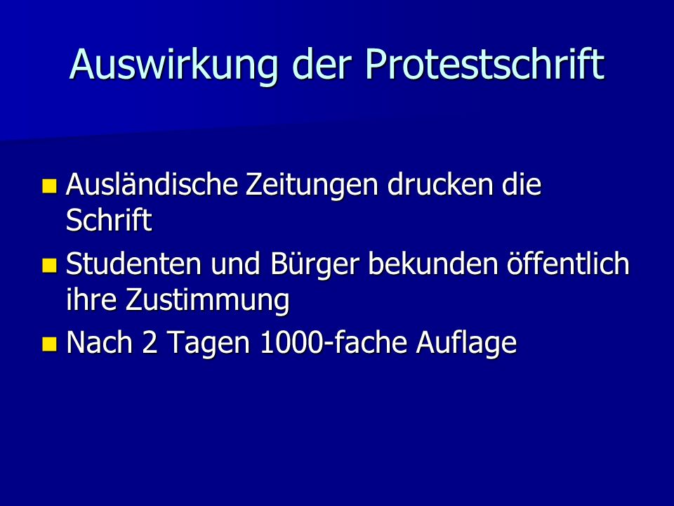 Auswirkung der Protestschrift