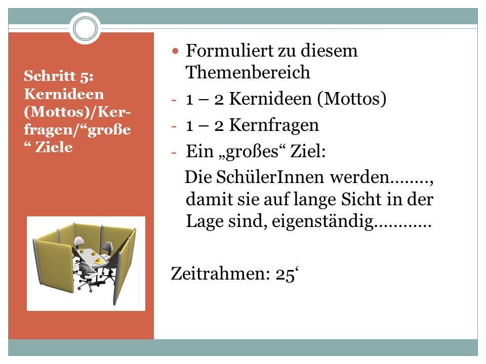 Schritt 5: Kernideen (Mottos)/Ker-fragen/ große Ziele