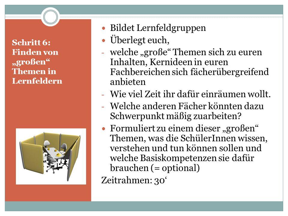 """Schritt 6: Finden von """"großen Themen in Lernfeldern"""