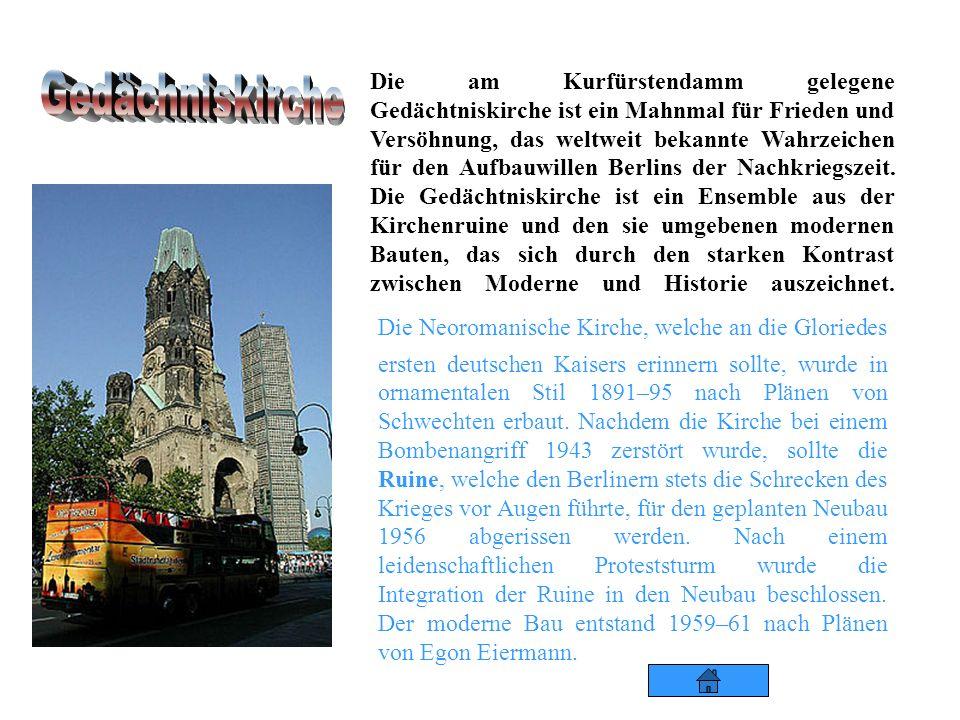 Die am Kurfürstendamm gelegene Gedächtniskirche ist ein Mahnmal für Frieden und Versöhnung, das weltweit bekannte Wahrzeichen für den Aufbauwillen Berlins der Nachkriegszeit. Die Gedächtniskirche ist ein Ensemble aus der Kirchenruine und den sie umgebenen modernen Bauten, das sich durch den starken Kontrast zwischen Moderne und Historie auszeichnet.