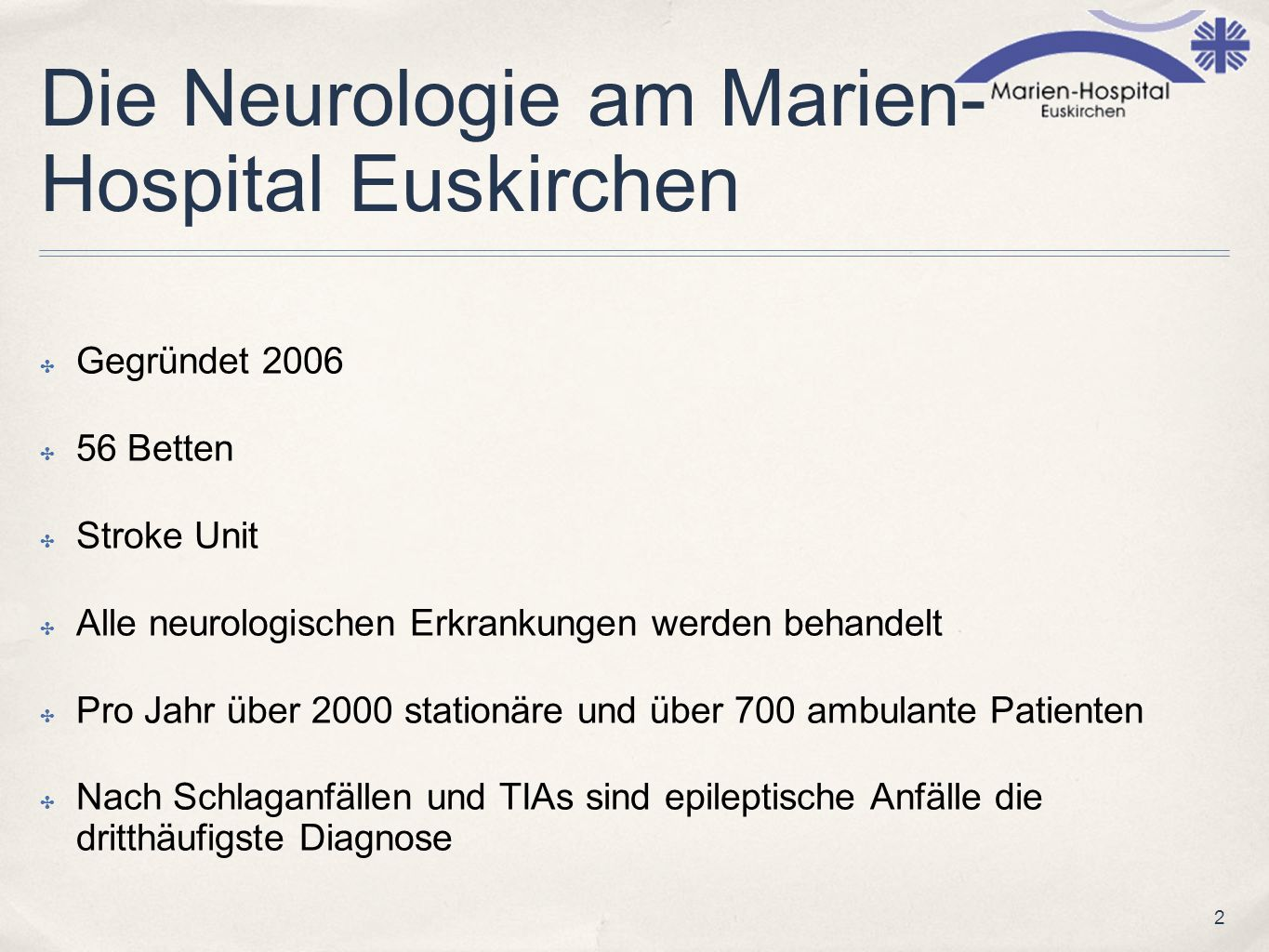 Die Neurologie am Marien-Hospital Euskirchen