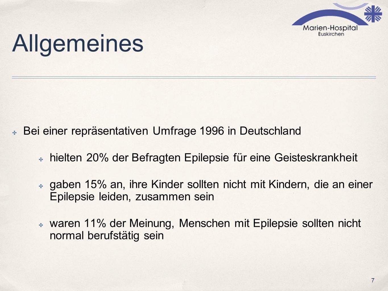 Allgemeines Bei einer repräsentativen Umfrage 1996 in Deutschland