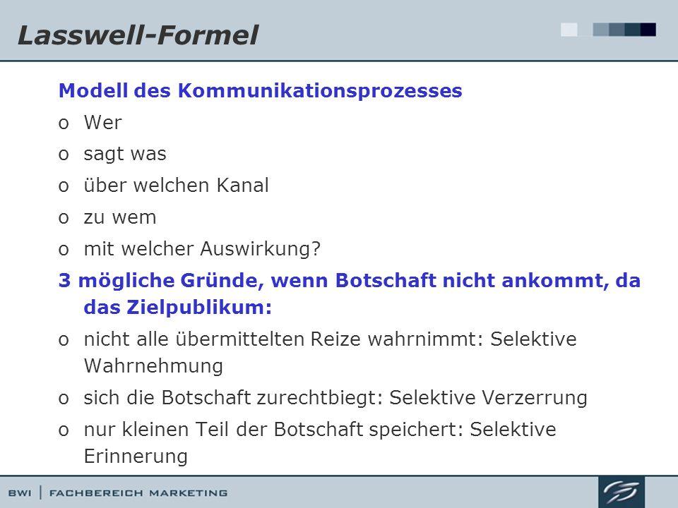 Lasswell-Formel Modell des Kommunikationsprozesses Wer sagt was