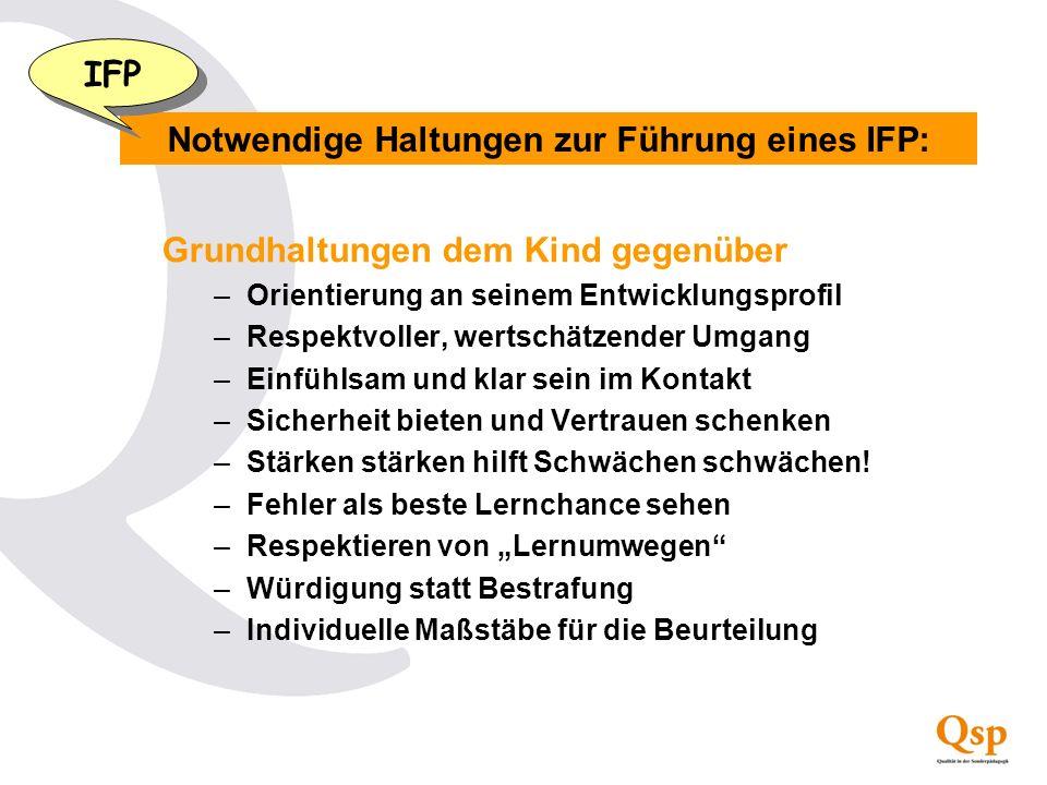 Notwendige Haltungen zur Führung eines IFP: