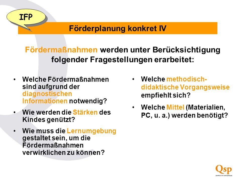 Förderplanung konkret IV