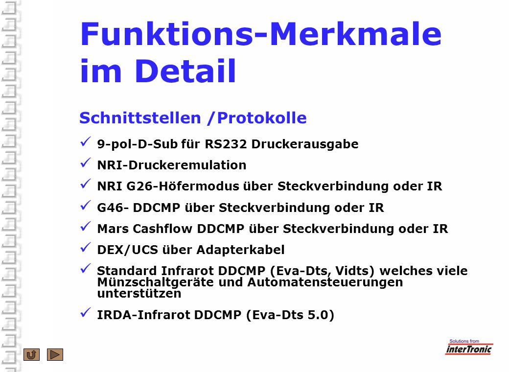 Funktions-Merkmale im Detail Schnittstellen /Protokolle
