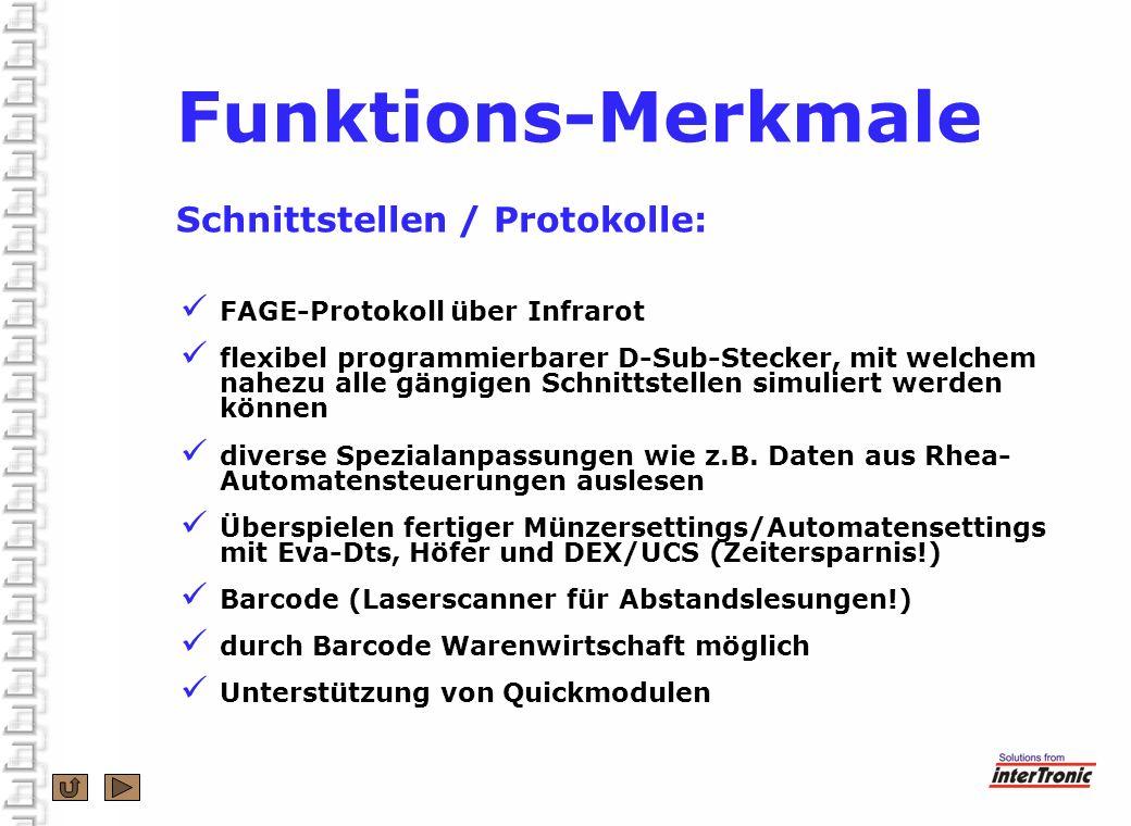 Funktions-Merkmale Schnittstellen / Protokolle: