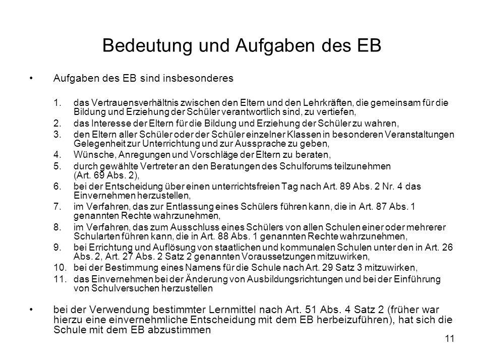 Bedeutung und Aufgaben des EB