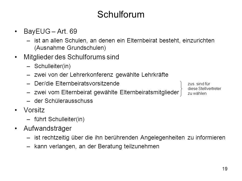 Schulforum BayEUG – Art. 69 Mitglieder des Schulforums sind Vorsitz