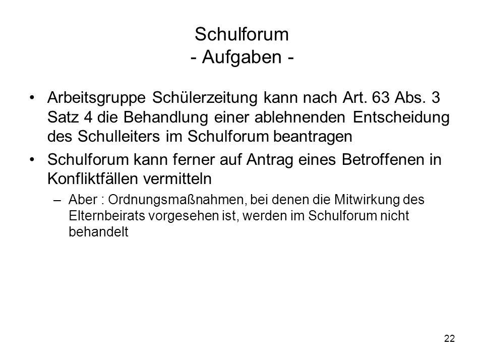 Schulforum - Aufgaben -