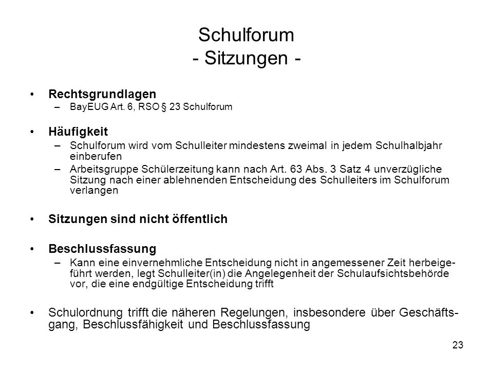 Schulforum - Sitzungen -