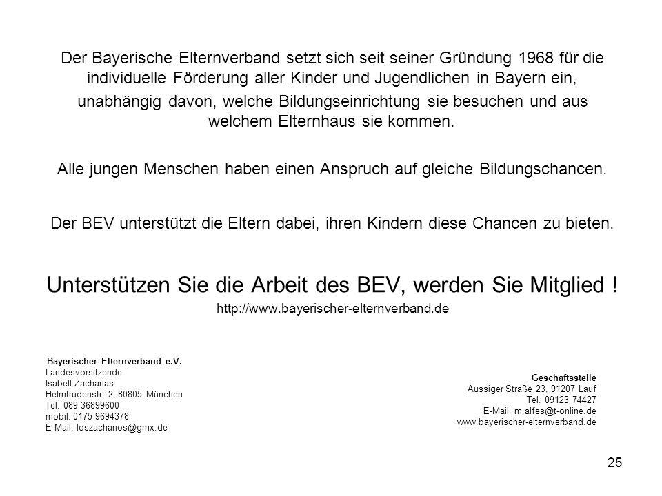 Unterstützen Sie die Arbeit des BEV, werden Sie Mitglied !