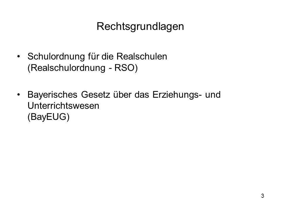 Rechtsgrundlagen Schulordnung für die Realschulen (Realschulordnung - RSO) Bayerisches Gesetz über das Erziehungs- und Unterrichtswesen (BayEUG)