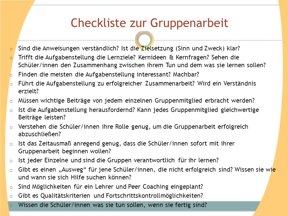 Checkliste zur Gruppenarbeit