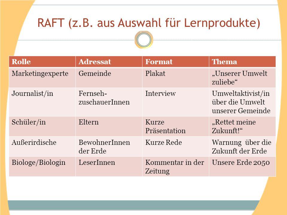 RAFT (z.B. aus Auswahl für Lernprodukte)