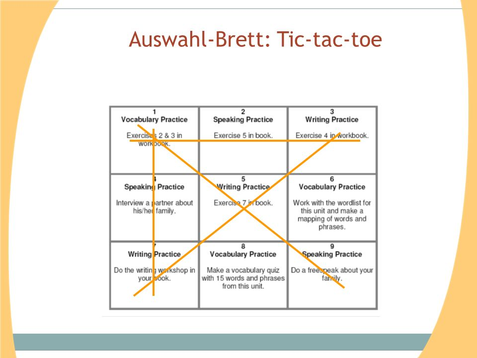 Auswahl-Brett: Tic-tac-toe