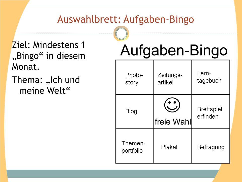 Auswahlbrett: Aufgaben-Bingo