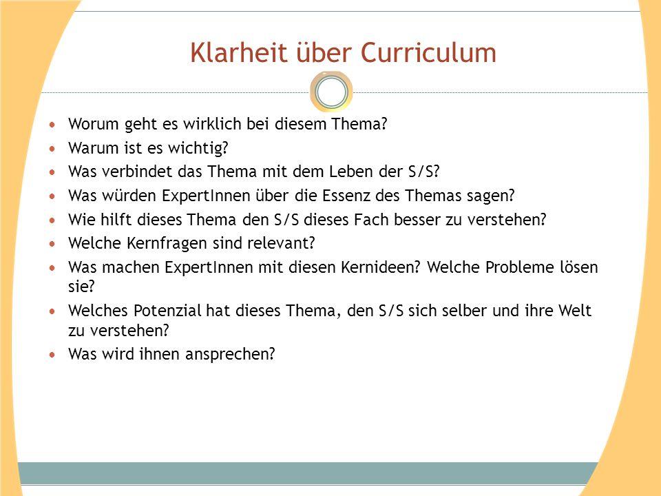 Klarheit über Curriculum