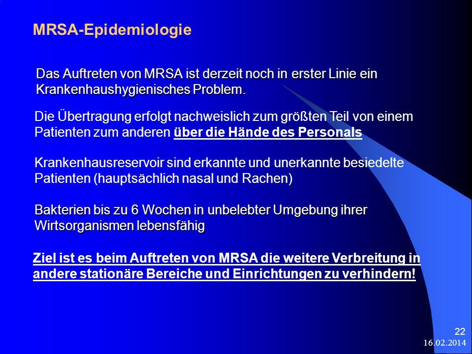MRSA-Epidemiologie Das Auftreten von MRSA ist derzeit noch in erster Linie ein Krankenhaushygienisches Problem.