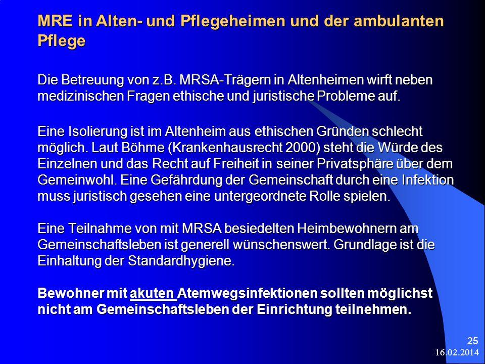 MRE in Alten- und Pflegeheimen und der ambulanten Pflege