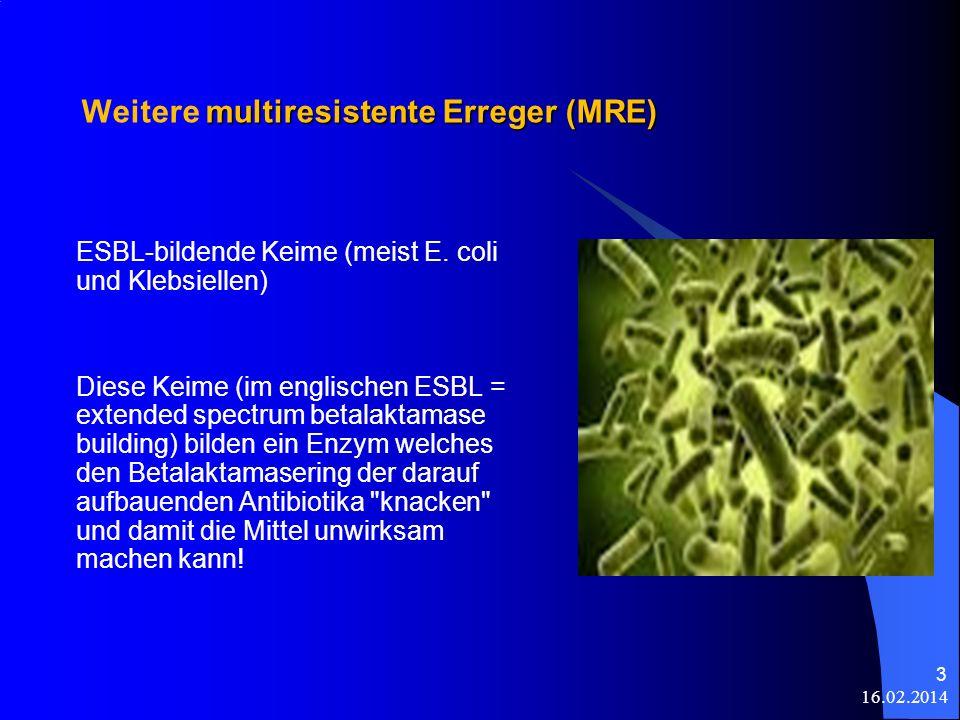 Weitere multiresistente Erreger (MRE)