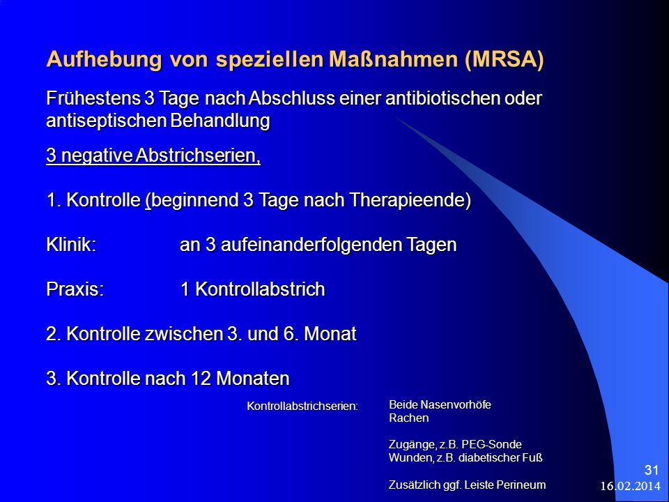 Aufhebung von speziellen Maßnahmen (MRSA)