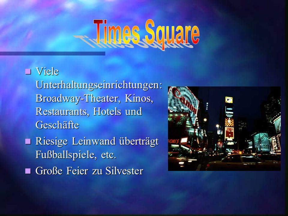 Times Square Viele Unterhaltungseinrichtungen: Broadway-Theater, Kinos, Restaurants, Hotels und Geschäfte.