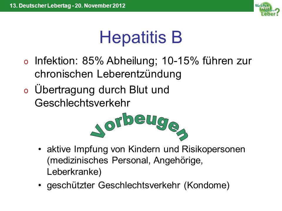 14.06.12 Hepatitis B. Infektion: 85% Abheilung; 10-15% führen zur chronischen Leberentzündung. Übertragung durch Blut und Geschlechtsverkehr.