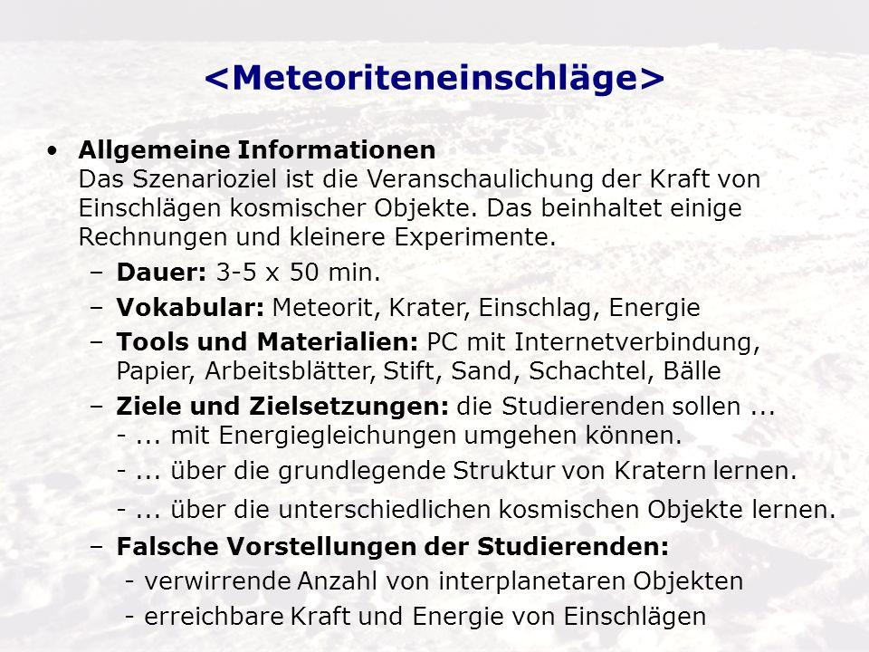 <Meteoriteneinschläge>