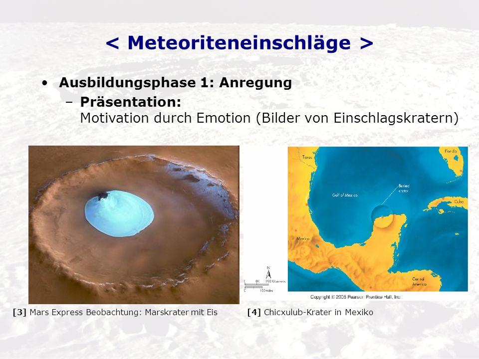 < Meteoriteneinschläge >