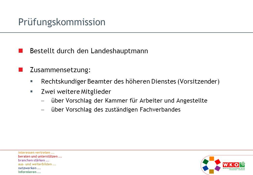 Prüfungskommission Bestellt durch den Landeshauptmann Zusammensetzung: