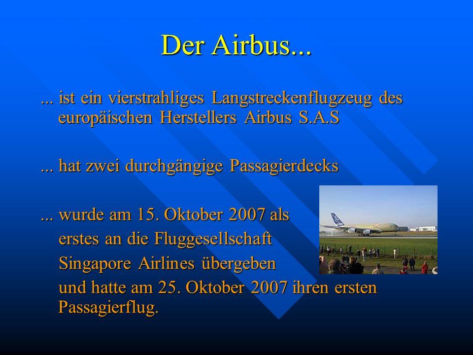 Der Airbus... ... ist ein vierstrahliges Langstreckenflugzeug des europäischen Herstellers Airbus S.A.S.