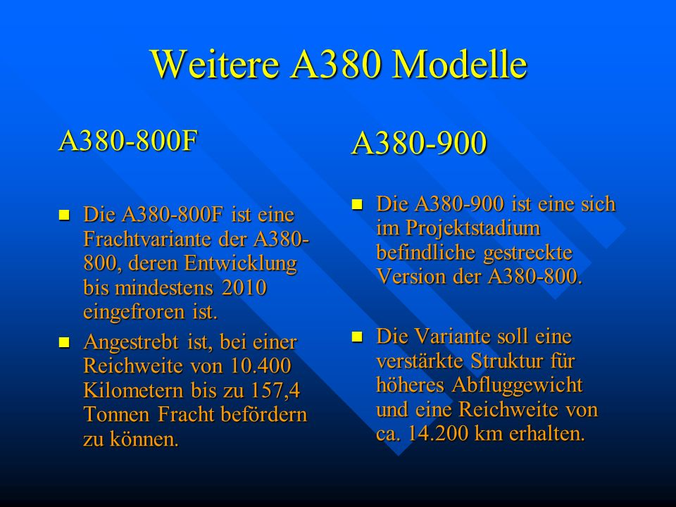 Weitere A380 Modelle A380-900 A380-800F