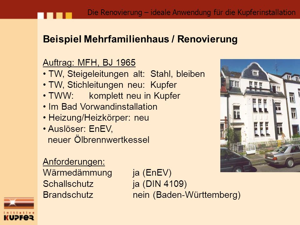 Beispiel Mehrfamilienhaus / Renovierung