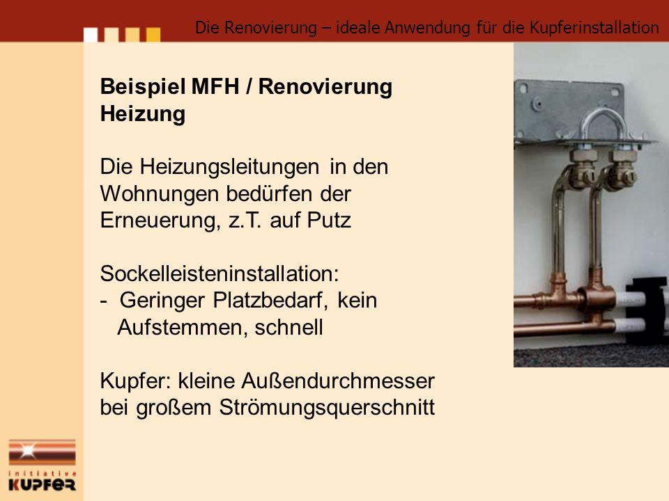 Beispiel MFH / Renovierung Heizung Die Heizungsleitungen in den
