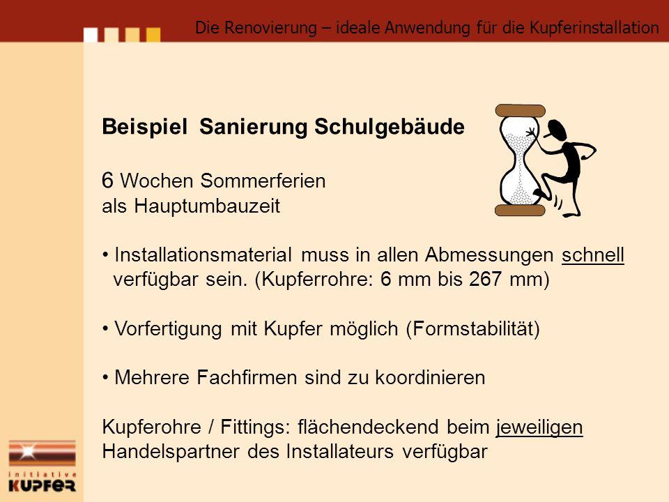 Beispiel Sanierung Schulgebäude 6 Wochen Sommerferien